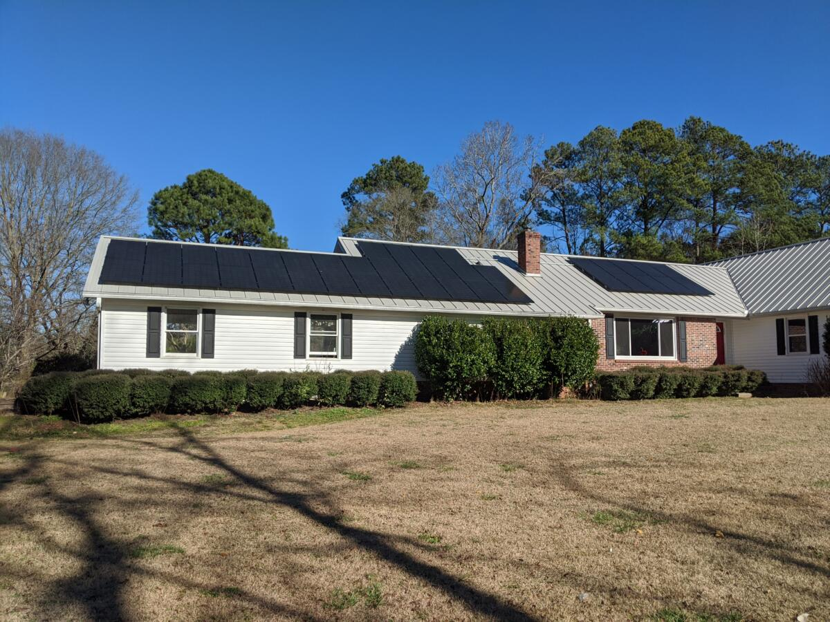Home with a custom designed solar panel system installed